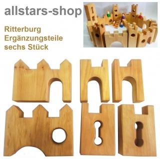 Allstars Bauspiel Ritterburg Burg 6 Stück Ergänzungsteile aus Erlenholz
