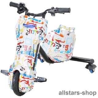 Actionbikes Elektro-Roller Drift-Scooter E-Scooter Gokart E-Dreirad weiß
