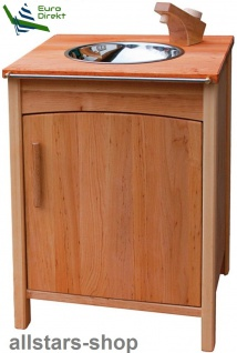 Schöllner Kinderküche Spüle Edelstahl mit Kühlschrank Vario Single für Spielküche Erlenholz Pantry Kindergarten