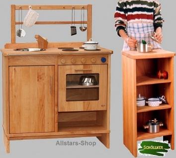 Schöllner Kinderküche Spielküche aus Holz mit Herdplatten, Edelstahl-Spülbecken, Backofen und Regal