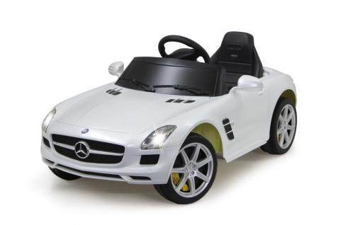 Jamara Ride on Car Mercedes SLS AMG weiß Kinderauto mit E-Motor zum Selbstfahren Elektroauto mit RC-Fernbedienung