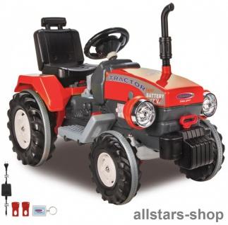 Jamara Kinder-Auto Ride On Traktor Trecker Elektro-Traktor rot mit Hänger grün - Vorschau 4