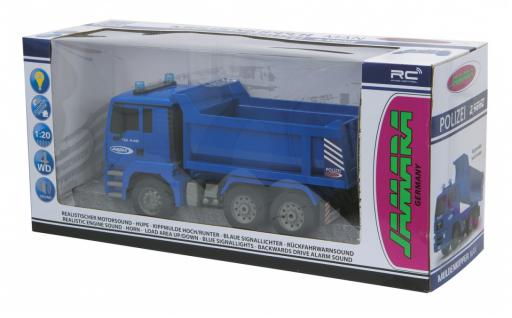 Jamara RC Auto Muldenkipper Polizei 1:20 blau 2, 4 GHz Kipper Funk Motorsound - Vorschau 5