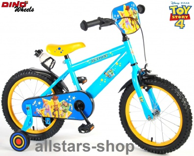 "Allstars Dino Wheels Bikes Jungenfahrrad 16 "" mit Rücktrittbremse + Handbremse Fahrrad hellblau"