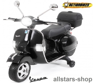 Actionbikes Kinder-Motorroller Vespa PX150 lizenziert Elektro-Roller E-Scooter schwarz