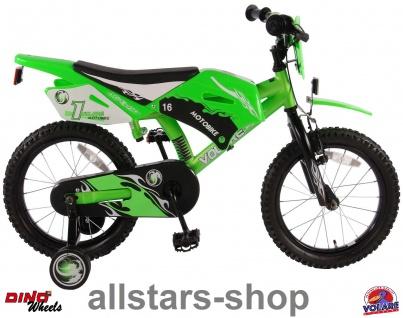 """Allstars Dino Wheels Bikes Kinderfahrrad 16 """" Motorradlook 2 Handbremsen Fahrrad grün"""