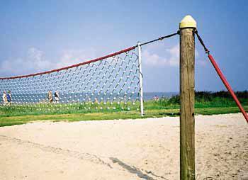 Huck Netzanlage Volleyball mit Pfosten + Clipsnetz Volleyballnetz