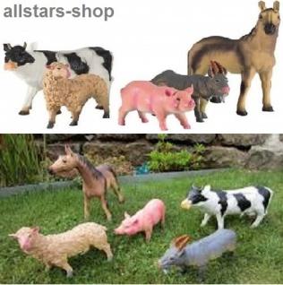 Allstars Haustiere Stalltiere für Bauernhof 5 Tiere Pferd, Kuh Esel und Co.