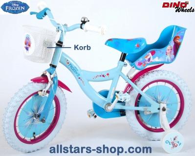 """Allstars Dino Bikes Wheels Disney Frozen II Kinderfahrrad Mädchenfahrrad 14 """" mit Rücktrittbremse blau"""