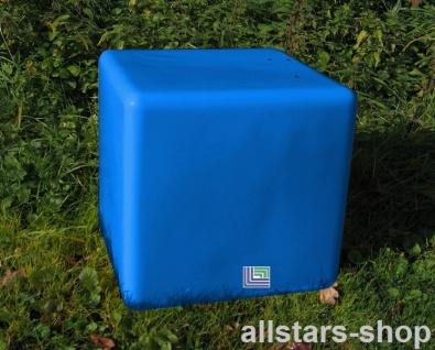 Beckmann Sitzelement Hocker Sitzgelegenheit Design-Würfel Ø = 55 cm blau mit Bodenanker