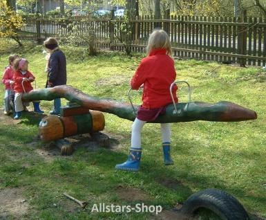"""Wippe """" Gustl"""" Balkenwippe Eiche-Robinie Haltegriffe Edelstahl für 4 Kinder Kindergarten"""