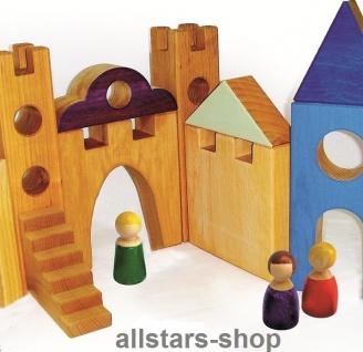 Bauspiel Ritterburg und Spieldorf 26 Teile aus Erlenholz inkl. Ergänzungsteile Allstars