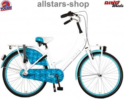 """Allstars Dino Bikes Wheels Kinderfahrrad Mädchenfahrrad 24 """" mit 3-Gang-Schaltung + Rücktritt weiß blau"""