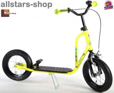 Allstars Roller Tretroller 12 Zoll Midi mit Handbremse, Fußbremse und Roller-Ständer gelb