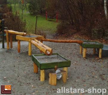 Wasserspielanlage Matschanlage Bad Waldsee mit Wasserpumpe und Edelstahlwannen