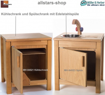 Allstars Kinderküche Puppen-Kühlschrank und V2A-Spüle mit Unterschrank H = 45, 5 cm