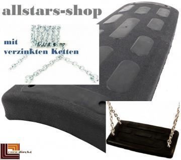 Beckmann Schaukelsitz Typ 3 Gummi abgerundet Schaukel mit Alu-Verstärkung mit VZ-Ketten TÜV für öffentlichen Bereich schwarz