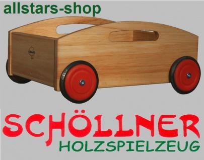 Schöllner Holzspielzeug Bollerwagen aus Holz mit Tragegriffen ideal für Bausteine