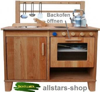 Schöllner Kinderküche Spielküche aus Holz mit Herdplatten, Edelstahl-Spülbecken, Backofen und Regal - Vorschau 2