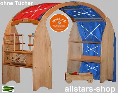 Schöllner Spielhaus geschlossen mit 2 diversen Verkaufstresen Kaufladen-Ständer + 2 Dachboden Typ 4