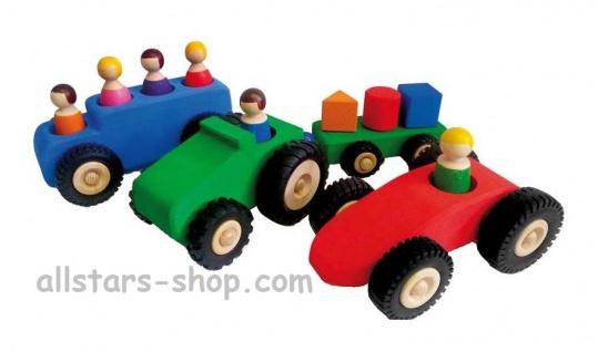 Bauspiel Holzfahrzeuge große mit 6 Holzfiguren Auto mit Anhänger + Omnibus Allstars