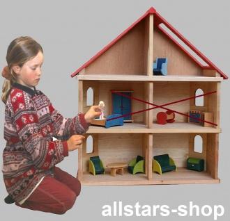 Schöllner Puppenhaus Spielhaus Kinderspielhaus Puppenstube 1 Etage mit Dach für Kindergarten - Vorschau 3