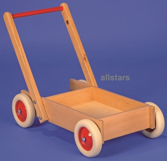 Allstars Laufwagen Buchenholz Puppen-Karre Schubkarre