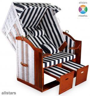 Allstars Strandkorb Duo XXL Rattan weiß Gartenliege 2 Sitze extra breit Stoff blau-weiß