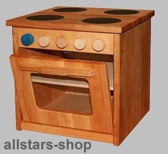 Schöllner Spielküche Kinderküche mit Ofen Backofen Star aus Holz mit Herdplatten und Seitenteilen H = 50 cm