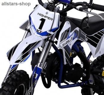 Actionbikes Kindermotorrad Kinder-Crossbike Poketbike Gazelle 49 cc Benzin-Motor blau - Vorschau 4