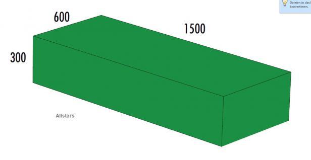 Bänfer Softbaustein Quader Grün 1500 x 600 x 300 mm Maxi Schaumstoff-Baustein