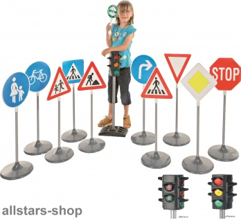 Verkehrsschilder 2 Sets und 2 Verkehrsampeln Komplett-Set Verkehrszeichen Allstars