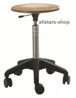 Allstars Rollhocker Octopus Basis 38 - 45 cm Drehstuhl mit Rollen und Holzsitz