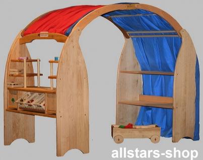 Schöllner Kaufladen mit 2 Verkaufsregalen + 2 Tischkaufladen mit 3 Planen Kaufladen-Ständer Typ 8