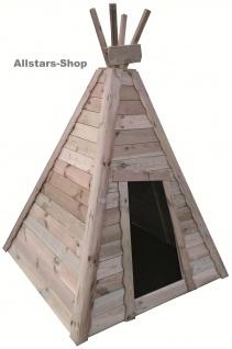 Allstars Indianerzelt aus Holz 4 Wände Holzhaus Spielhaus mit Holzfußboden