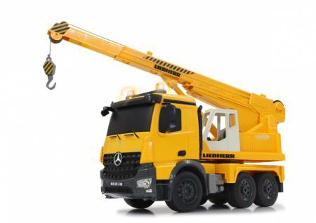 Jamara RC Auto Schwerlastkran Mercedes Liebherr 1:20 Baufahrzeug 2, 4GHz gelb Funk