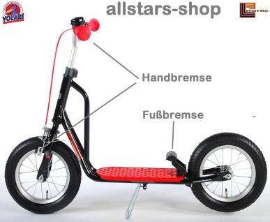 Allstars Roller Tretroller 12 Zoll Midi Handbremse, Fußbremse und Roller-Ständer rot schwarz