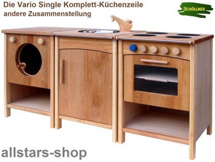 Schöllner Kinderküche Vario Single mit Herd Backofen Waschmaschine Spüle Kühlschrank Spielküche Erlenholz Pantry - Vorschau 2