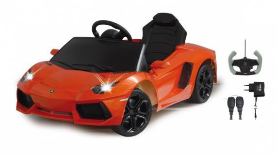 Jamara Ride on Car Lamborghini Aventador orange Kinderauto mit E-Motor zum Selbstfahren Elektroauto mit RC-Fernbedienung