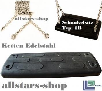 Beckmann Schaukelsitz Typ 1B Gummi Schaukel gebogen mit Alu-Verstärkung mit Kette Edelstahl TÜV für öffentlichen Bereich schwarz