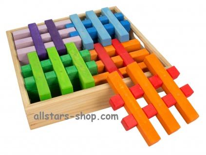 Gitterklötze im Holzkasten, 12 Stück, bunt Bausteine Bauklötze Allstars