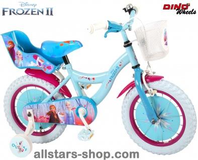 """Allstars Dino Bikes Wheels Disney Frozen Kinderfahrrad Mädchenfahrrad 14 """" mit Rücktrittbremse blau-lila - Vorschau 1"""