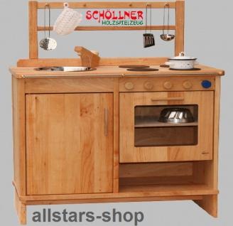 Schöllner Kinderküche Spielküche aus Holz mit Herdplatten, Edelstahl-Spülbecken, Backofen und Regal - Vorschau 4