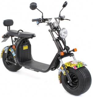 Actionbikes Elektro-Roller Easy Rider Harley Two Sitze Elektro-Scooter Chopper STVZO grafit-gelb