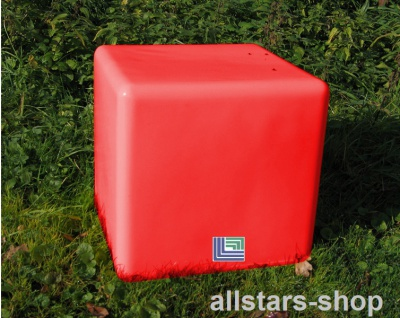 Beckmann Sitzelement Hocker Sitzgelegenheit Design-Würfel Ø = 55 cm rot mit Bodenanker