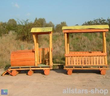 Spielplatzeisenbahn Spielzug - Lok Doc Zug - Holz-Lokomotive mit Waggon Hänger für öffentlichen Spielplatz