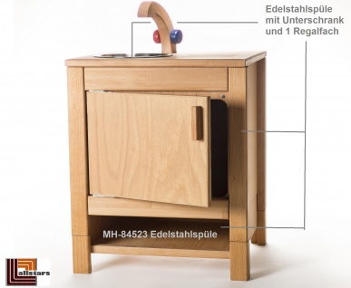 Allstars Kinderspielküche 1 Spüle mit Wasserhahn H = 55, 5 cm Spielküche aus Buchenholz
