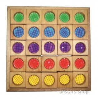Facettenbaukasten im Holzrahmen 25 teilig in 5 Farben Bausteine Bauklötze allstars