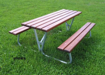 Beckmann Picknickbank Tisch + Stühle Set Garnitur Holz Stahl Kombination