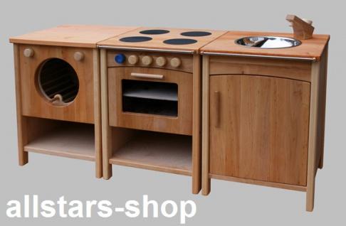 Schöllner Kinderküche Vario Single mit Herd Backofen Waschmaschine Spüle Kühlschrank Spielküche Erlenholz Pantry